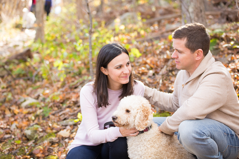 Candid engagement pictures with their dog
