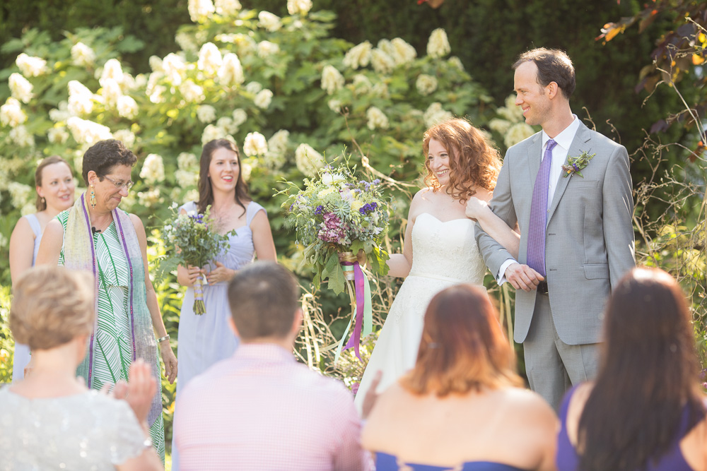 Happy couple at the end of their wedding ceremony   Airlie Weddings   Northern Virginia Wedding Photography