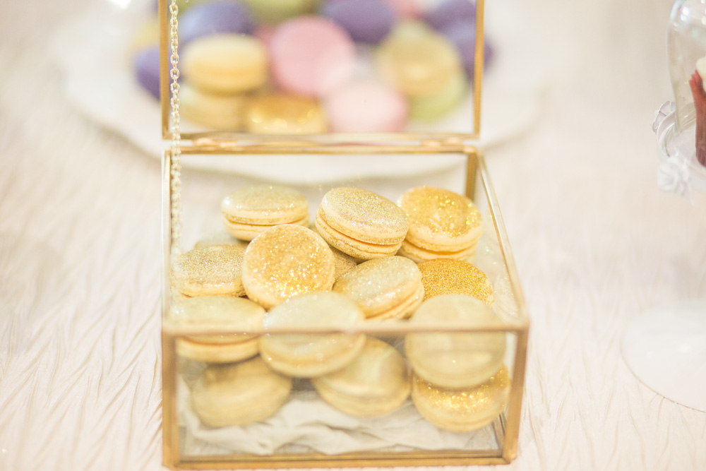 Macarons and other yummy desserts on display at this Airlie Center wedding   Megan Rei Photography   Warrenton, VA