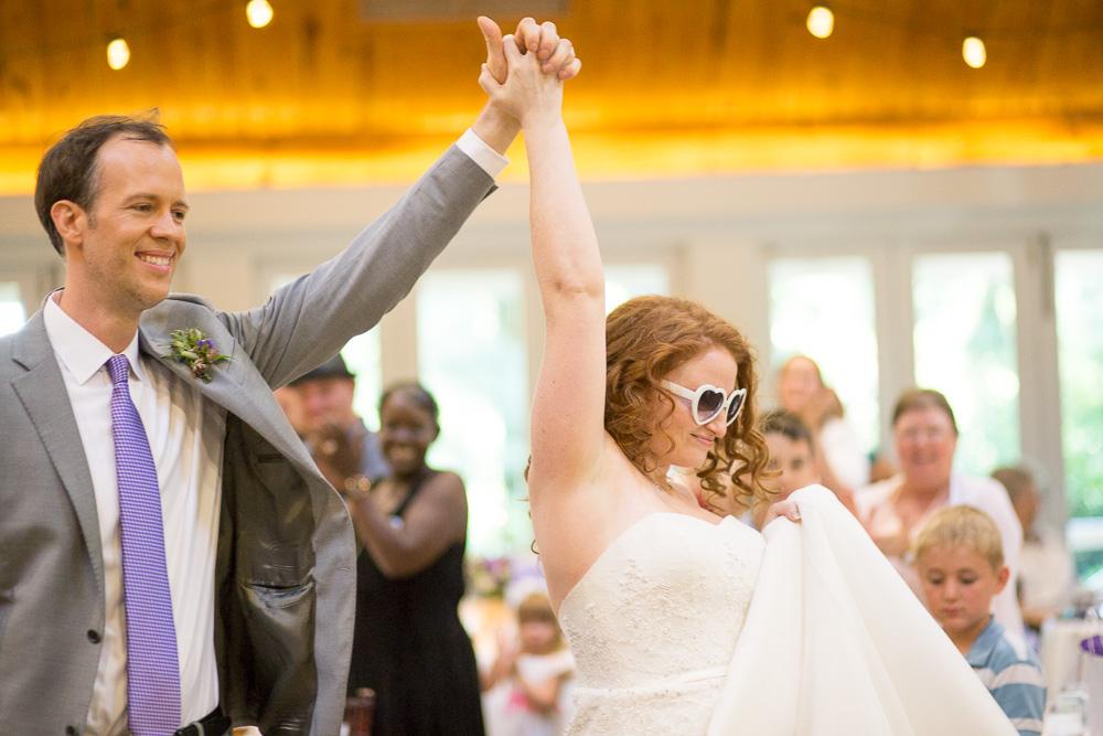 Wedding couple entrance at Airlie Center in Warrenton Virginia   Northern Virginia Wedding Photographer