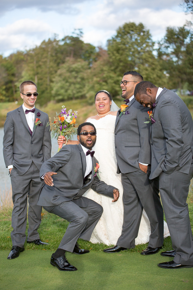 Bridal party goofing off after the wedding ceremony! | Northern Virginia Wedding | Westfields Golf Club, Clifton, VA