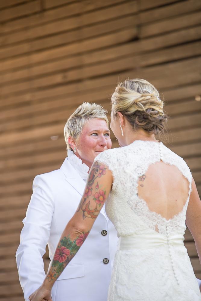 Emotional wedding photos during same sex wedding in DC area | Linganore Winecellars wedding