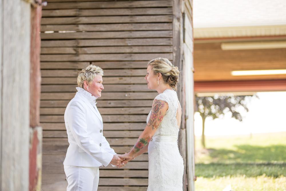First look during lesbian wedding at Linganore Winecellars | Gay wedding photographer in Washington, DC