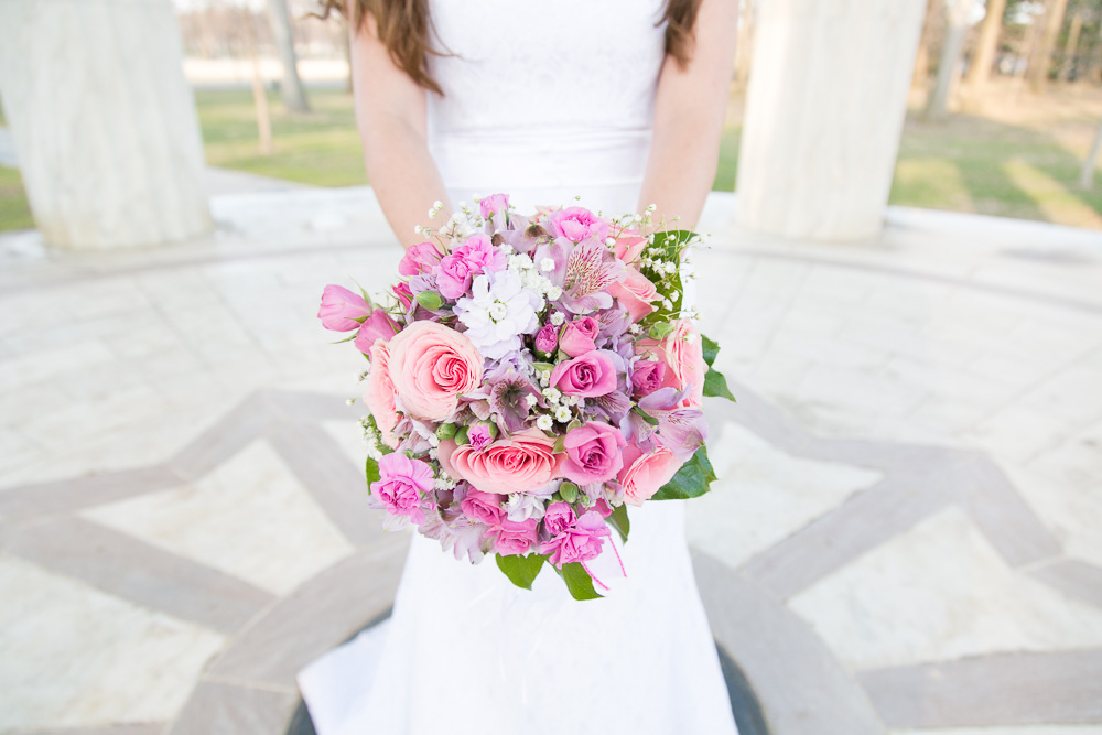 Beautiful pink and purple bridal bouquet from Twin Towers Florist in Arlington | Megan Rei Photography | Washington, DC Monuments Wedding Photos
