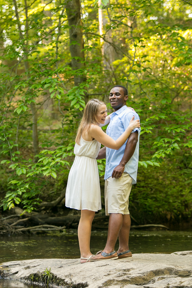 Goofing around during engagement session | Hiking engagement photos | Prince William Forest Park