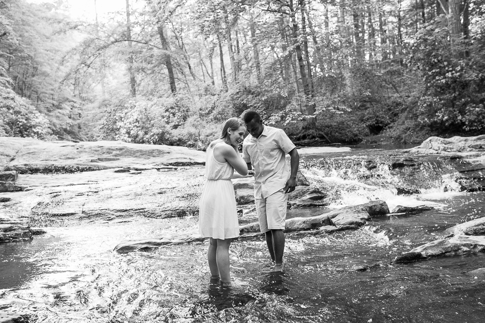 Playing in the creek engagement photos | Northern Virginia wedding photographer for adventurous couples | Megan Rei Photography