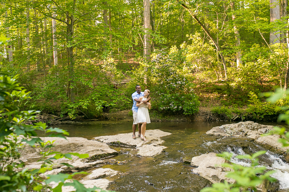 Engagement photos in the creek | Documentary style engagement photography in Prince William County, Virginia
