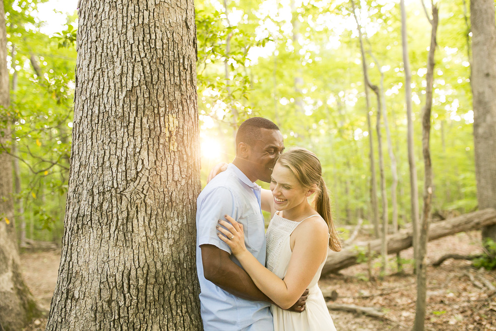 Golden hour sunset light during engagement session in Prince William Forest Park | Natural light photographer serving Northern Virginia | Megan Rei Photography