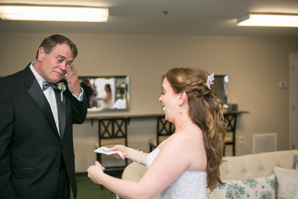 An emotional father-daughter first look in Haymarket, Virginia | VA Wedding Photography