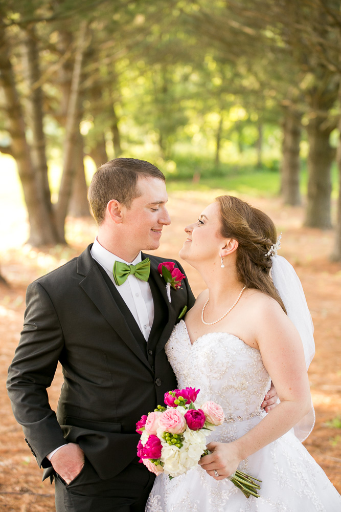 Bride and groom portraits in the evergreens | Haymarket, Virginia Wedding Photography