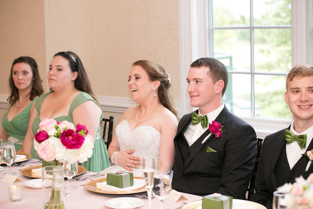 Enjoying the wedding toasts at Evergreen Country Club | Northern Virginia photojournalistic wedding photography