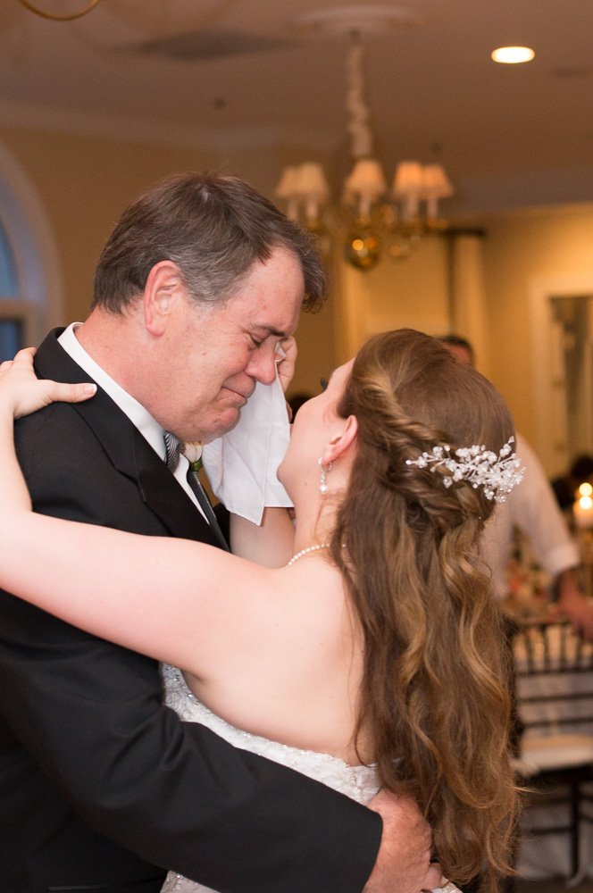 Dad tearing up during an emotional father-daughter dance | Haymarket, VA candid wedding photographer