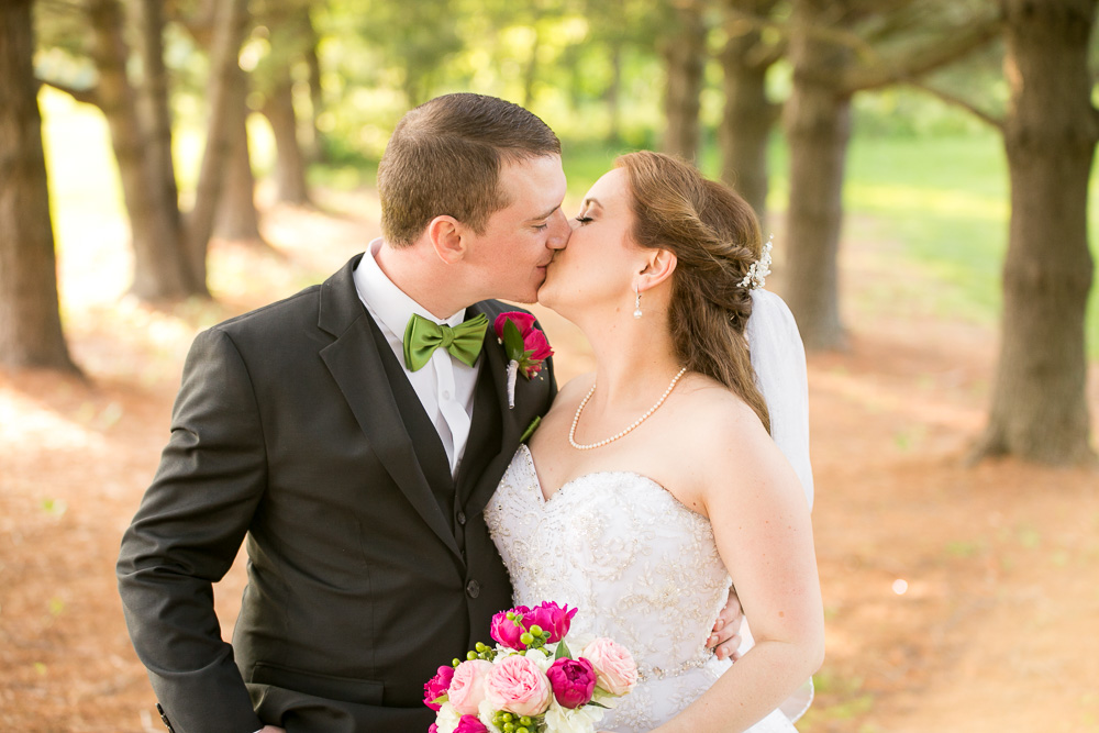 Bride and groom kiss | Evergreen Country Club | Haymarket, Virginia