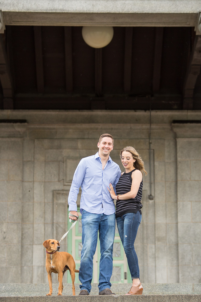 Karly and Adam with their dog Jack during their engagement session in Rochester, New York