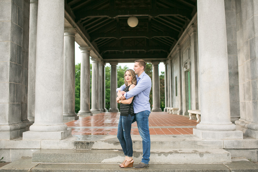 Engaged couple at the Cobb's Hill Gatehouse in Rochester, NY
