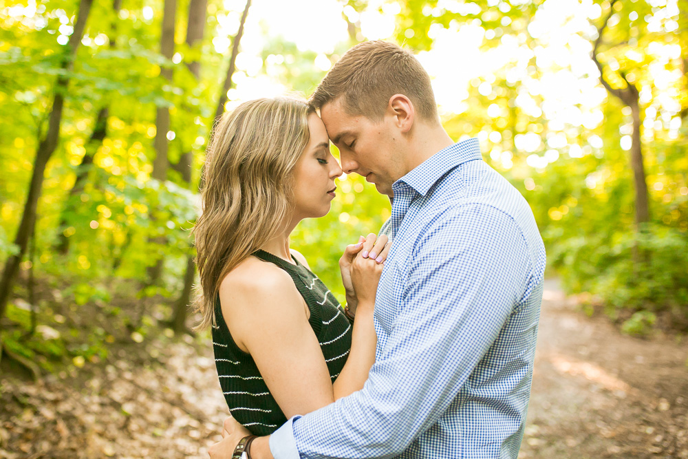 Romantic engagement photography in the forest