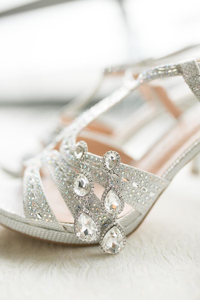 Bridal details - earrings and heels | Western New York Wedding Photographer