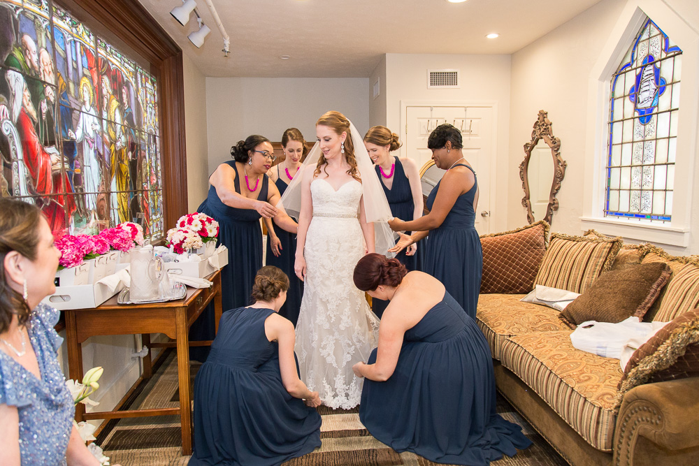 Bride and bridesmaids getting ready at Chapel Hill | Rochester, NY Candid Wedding Photography