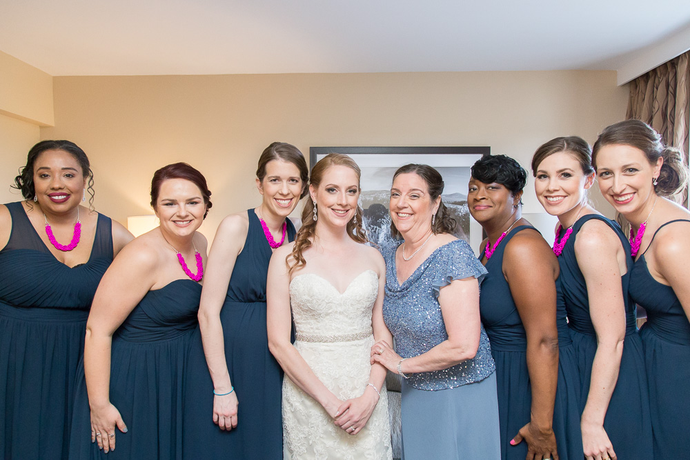 Bride and bridesmaids at The Strathallan, Rochester, NY | Western New York Wedding Photographer