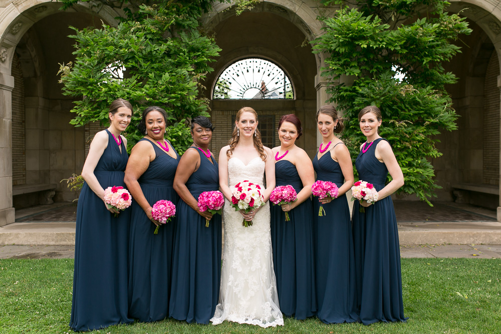 Bridesmaids in front of the arches at the George Eastman Gardens | Upstate New York Wedding Photography