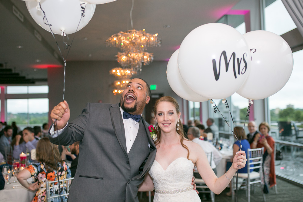 Mr. and Mrs. wedding balloons at the Strathallan | Best Rochester Wedding Venues | Megan Rei Photography