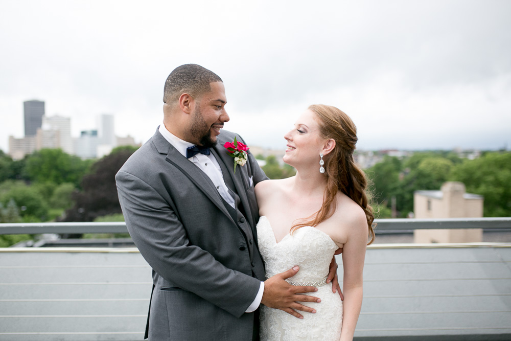 Rochester, NY skyline view from The Strathallan | Best Wedding Venues in Rochester | Megan Rei Photography