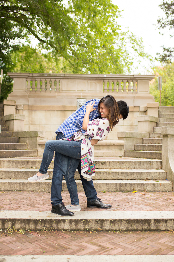 Engaged couple laughing | Candid DC Photographer