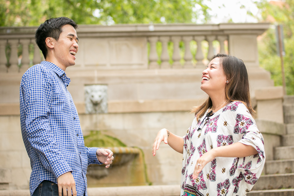 Happy couple after their wedding proposal in Washington, DC | Megan Rei Photography