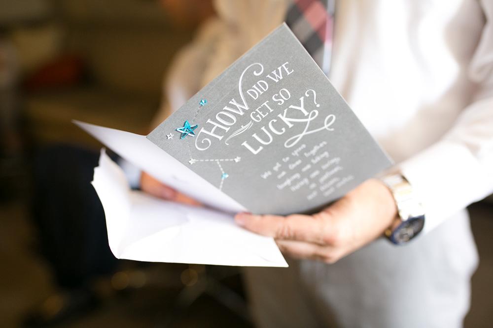 Wedding day letter exchange between bride and groom