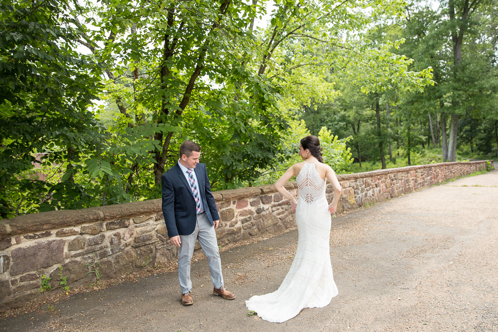 Checking out the bride's dress on the Stone Bridge at Manassas Battlefield