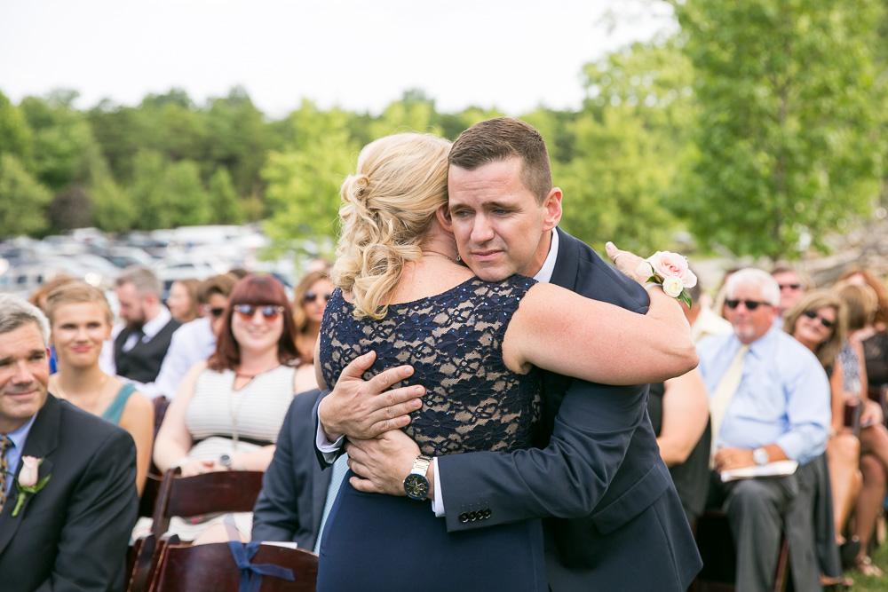 Emotional photo of groom and his mom | Photojournalistic Virginia Wedding Photographer