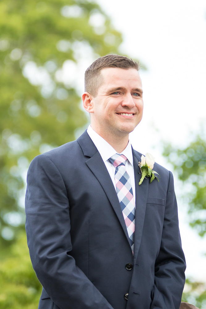 Smiling groom when he sees the bride | Candid Wedding Photographer in Northern Virginia | Megan Rei Photography