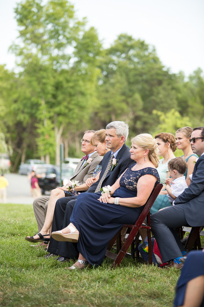 Guests during the outdoor wedding ceremony in Centreville, Virginia