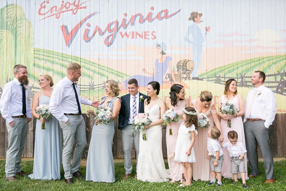 Candid wedding photos at Bull Run Winery | Blush and navy wedding party | Northern Virginia Photographer