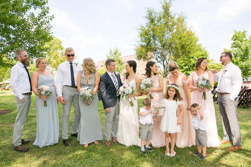 Fun wedding party photography at summer wedding at Winery at Bull Run
