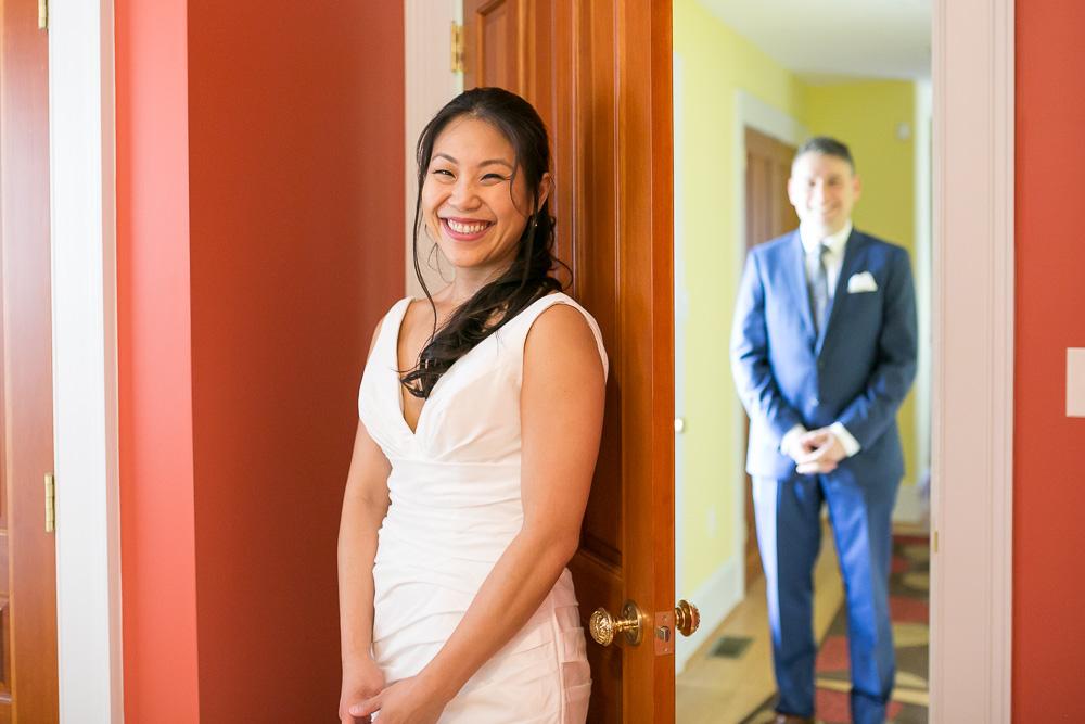 Getting ready for their First Look No Peek | Culpeper Wedding
