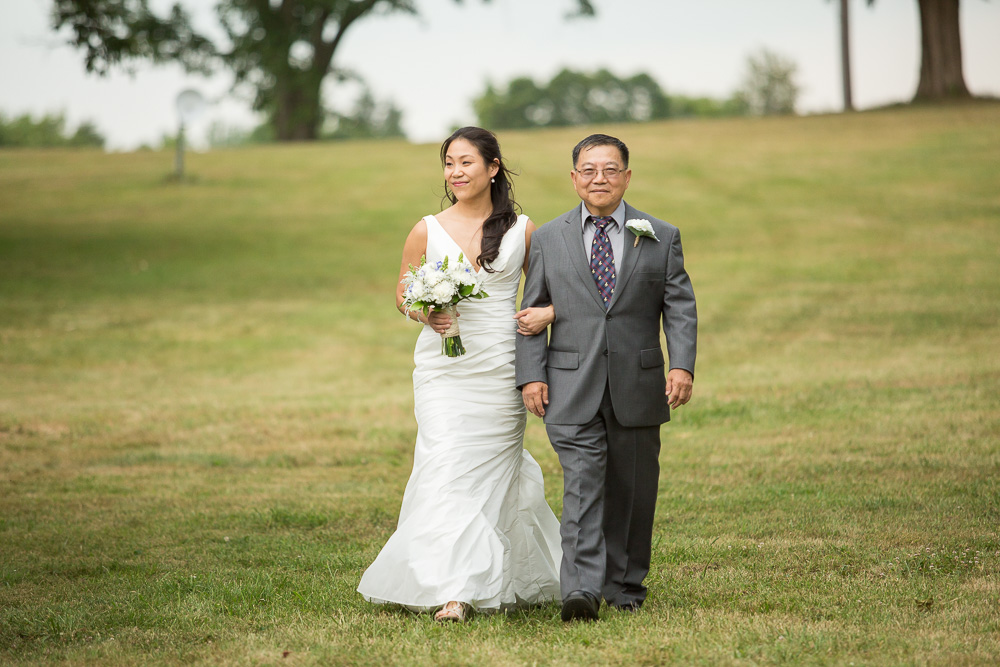 Bride and her father coming down the aisle | Mountain Run Winery Wedding