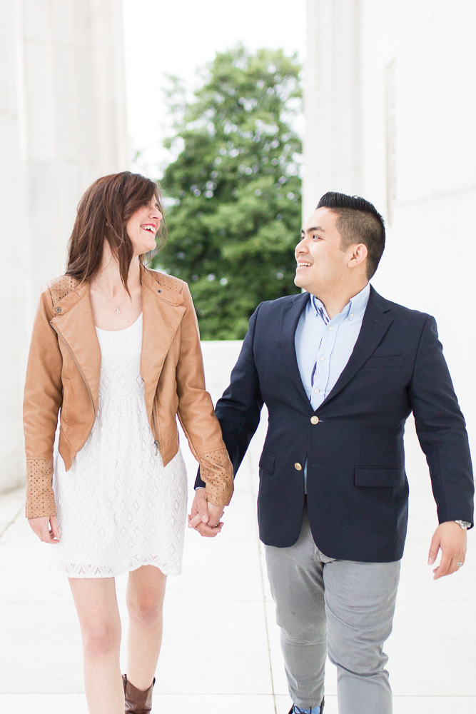 Candid engagement photography at the Lincoln Memorial | Washington DC Engagement Photography