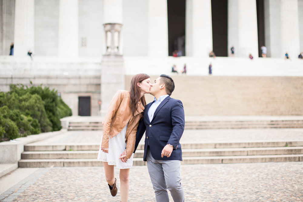 A sweet kiss by the DC monuments | Best places for Washington DC Engagement Photos | Megan Rei Photography