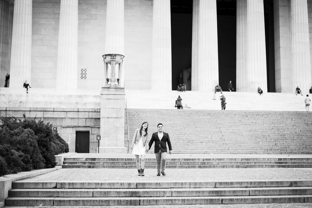 Walking down the steps of the Lincoln Memorial | Candid DC Wedding Photographer
