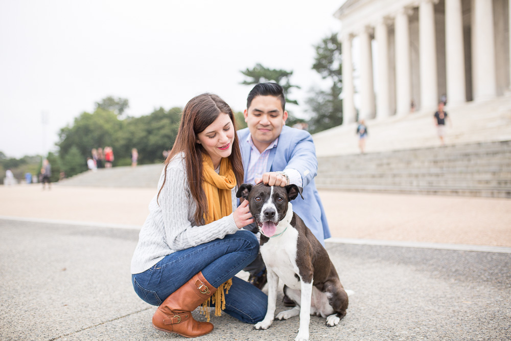 Engagement pictures with their dog in front of the Jefferson Memorial | Best Washington DC Engagement Photo Locations