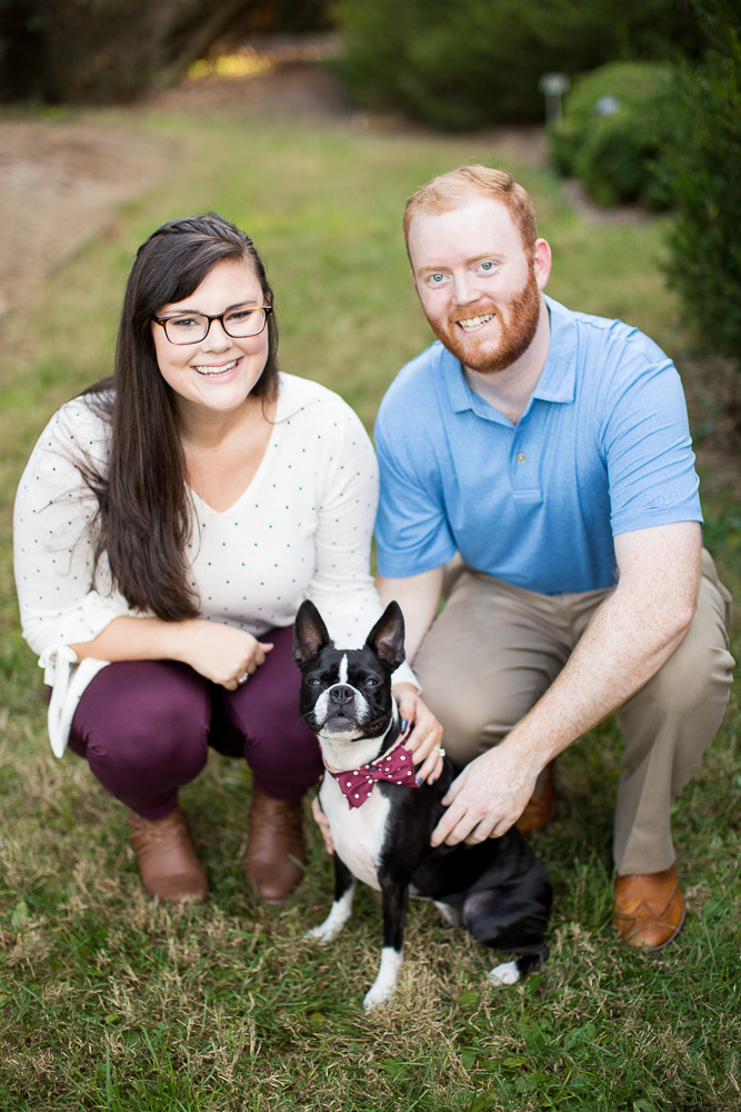 Engaged couple with their Boston Terrier during session in Boyce, Virginia