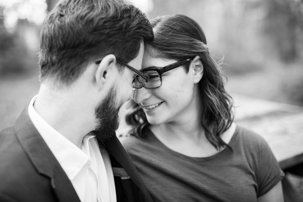 Black and white photo of engaged couple during Fauquier County engagement shoot