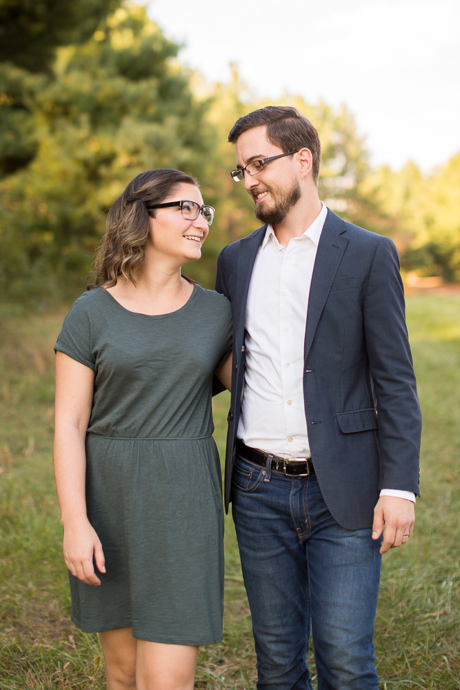 Smiling couple during their engagement session