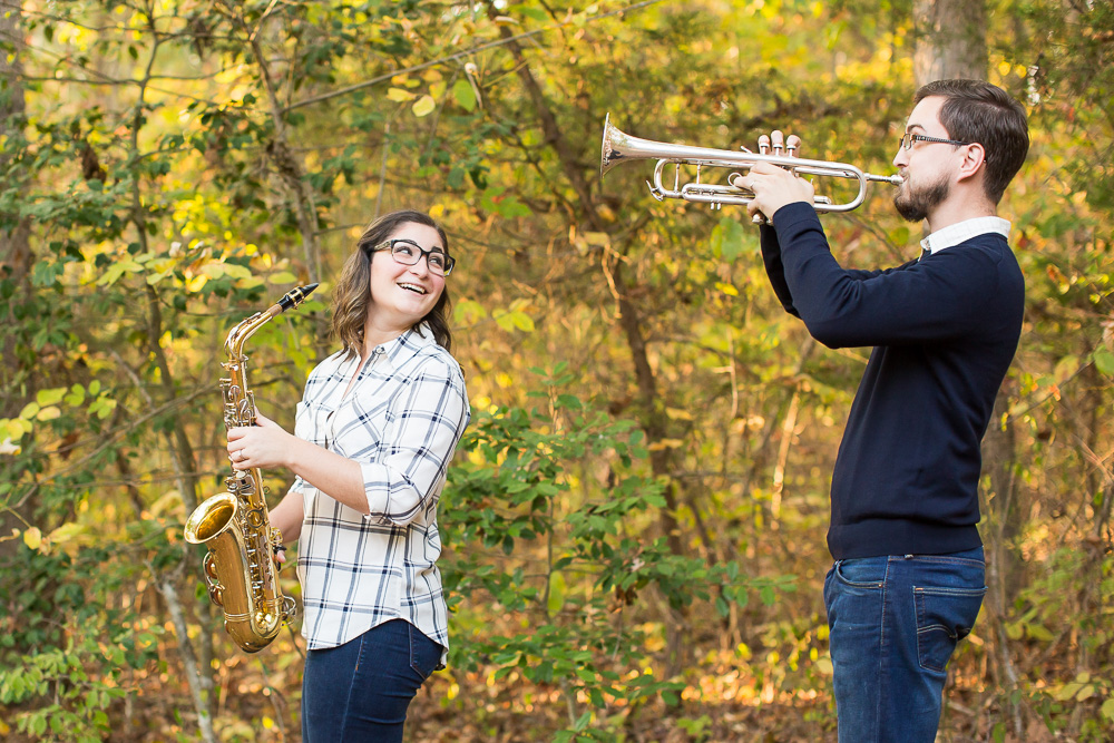 Marching band engagement pictures in the woods in Fauquier County, Virginia