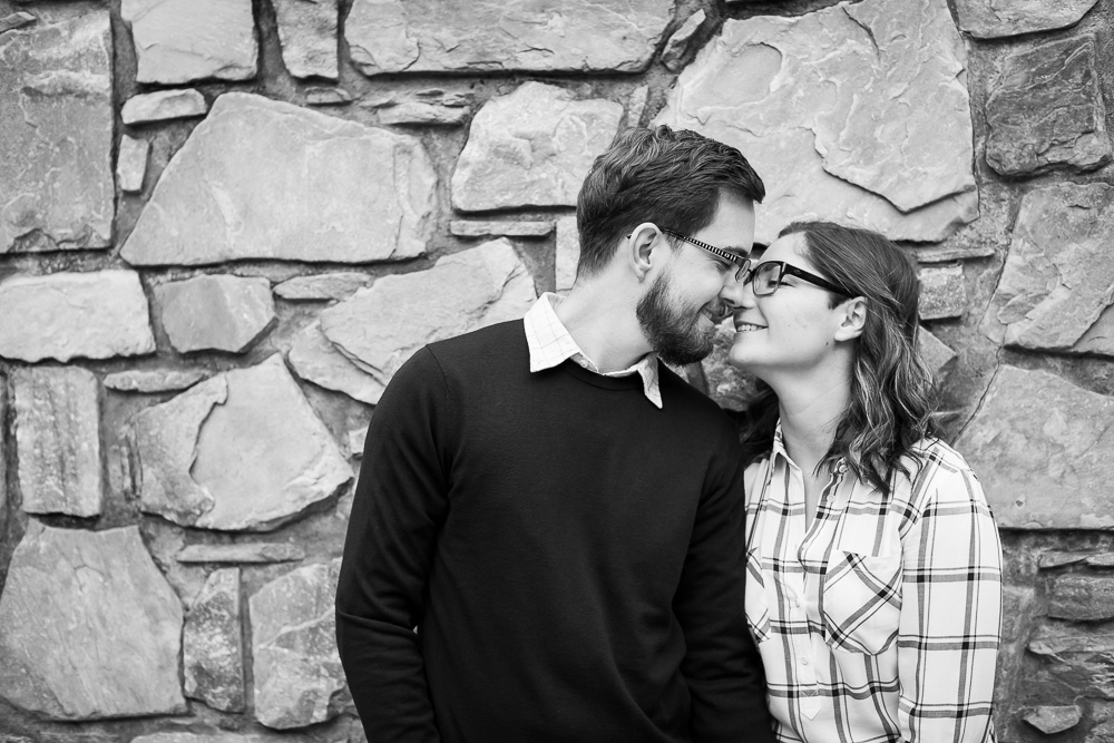 Sweet engaged couple about to kiss | Warrenton Virginia Engagement Photographer