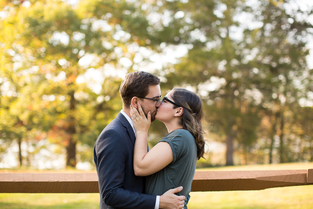Engaged couple kisses during Fauquier County engagement session
