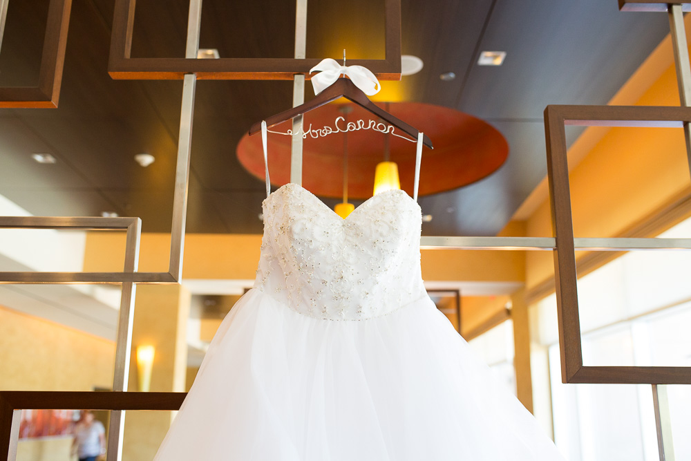 Wedding dress with bride hanger in the lobby of the Westin Washington Dulles Airport Hotel