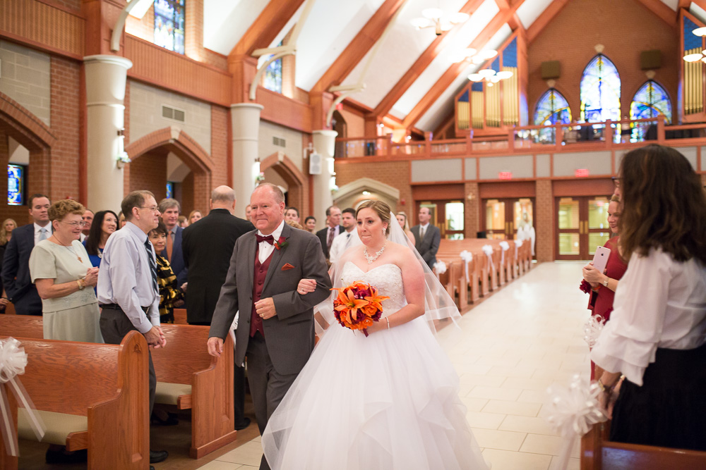 Wedding processional at Saint Theresa Catholic Church in Ashburn, Virginia | Northern Virginia Candid Wedding Photographer