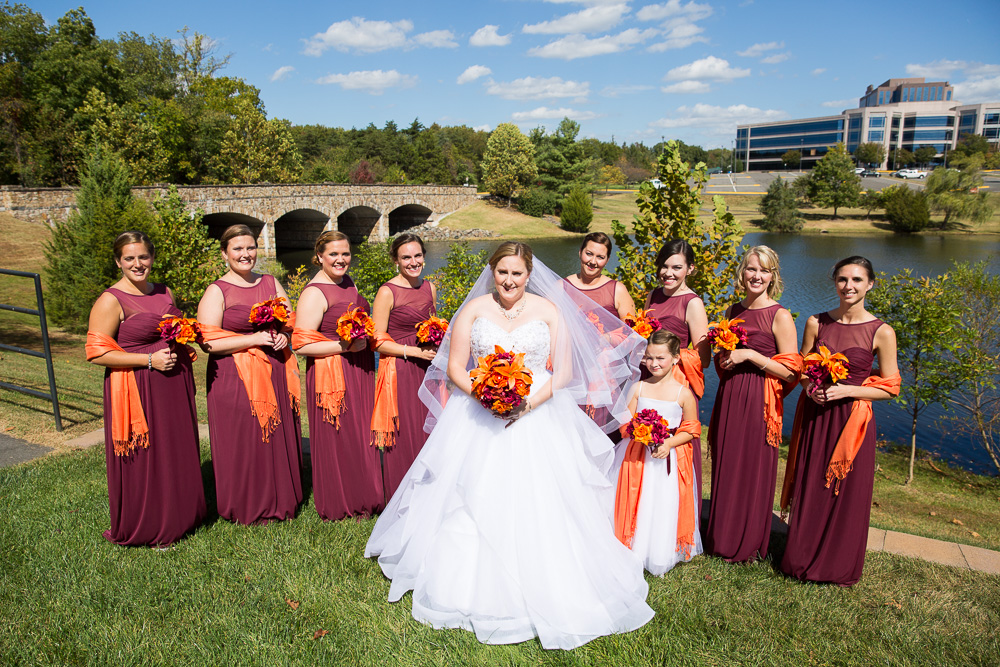 Bride and bridal party in front of the lake | Westin Washington Dulles Wedding Photos